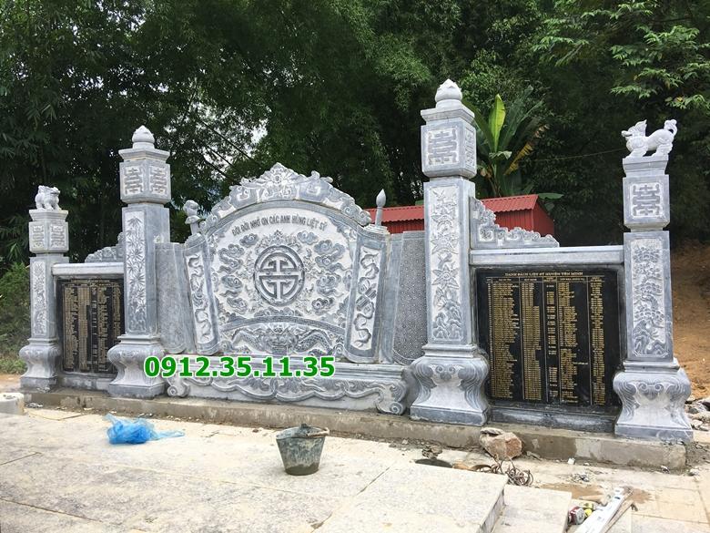 Mẫu bình phong đá lắp đặt ở nghĩa trang liệt sỹ huyện Yên Minh, Hà Giang